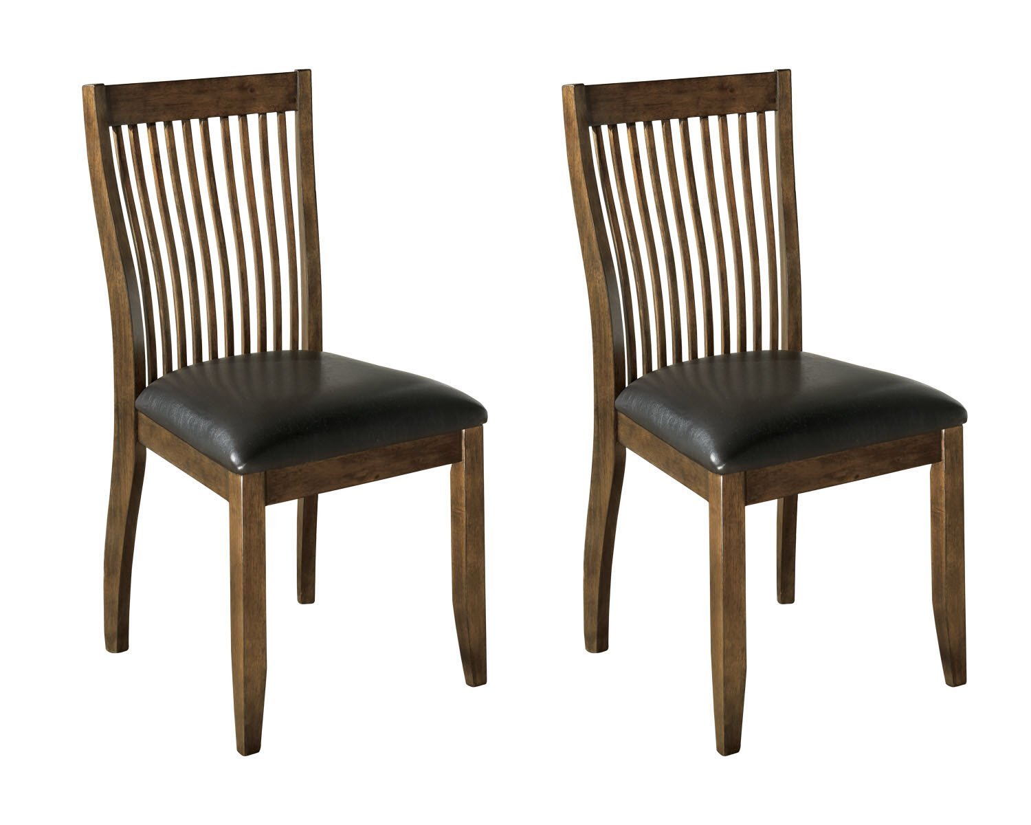 Ashley Furniture Signature Design   Stuman Dining Side Chair   Comb Back    Set Of 2   Brown Base And Black Upolstered Seat