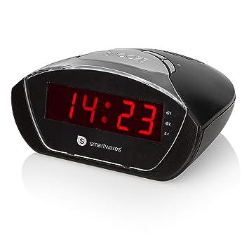 Smartwares CL-1458 Reloj Despertador con Doble Alarma, Opción de Repetición de Alarma, Bateria de Reserva