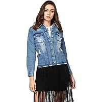StyleStone Women's Blue Distressed Denim Jacket