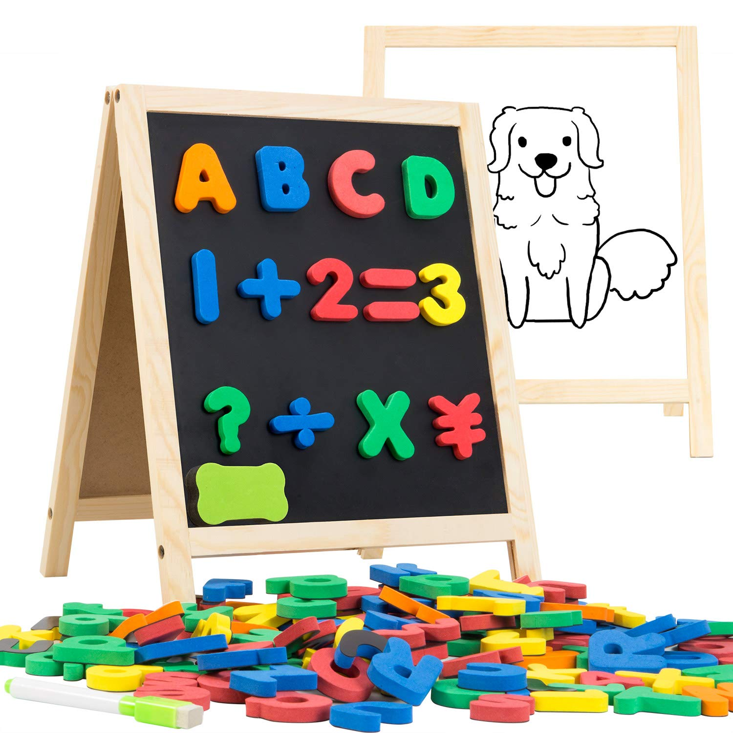 INNOCHEER Magnetic Letters and Numbers with Easel for Kids- 133 Pieces Alphabet Magnets, Educational Dry Erase Board - Whiteboard & Chalkboard for Toddlers Writing & Drawing by INNOCHEER