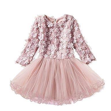 HCFKJ Ropa Bebe NiñA Invierno NiñO Manga Larga Camisetas Beb Conjuntos Moda NiñOs NiñAs Encaje Floral Princesa Boda Rendimiento Formal Ropa De Vestir: ...