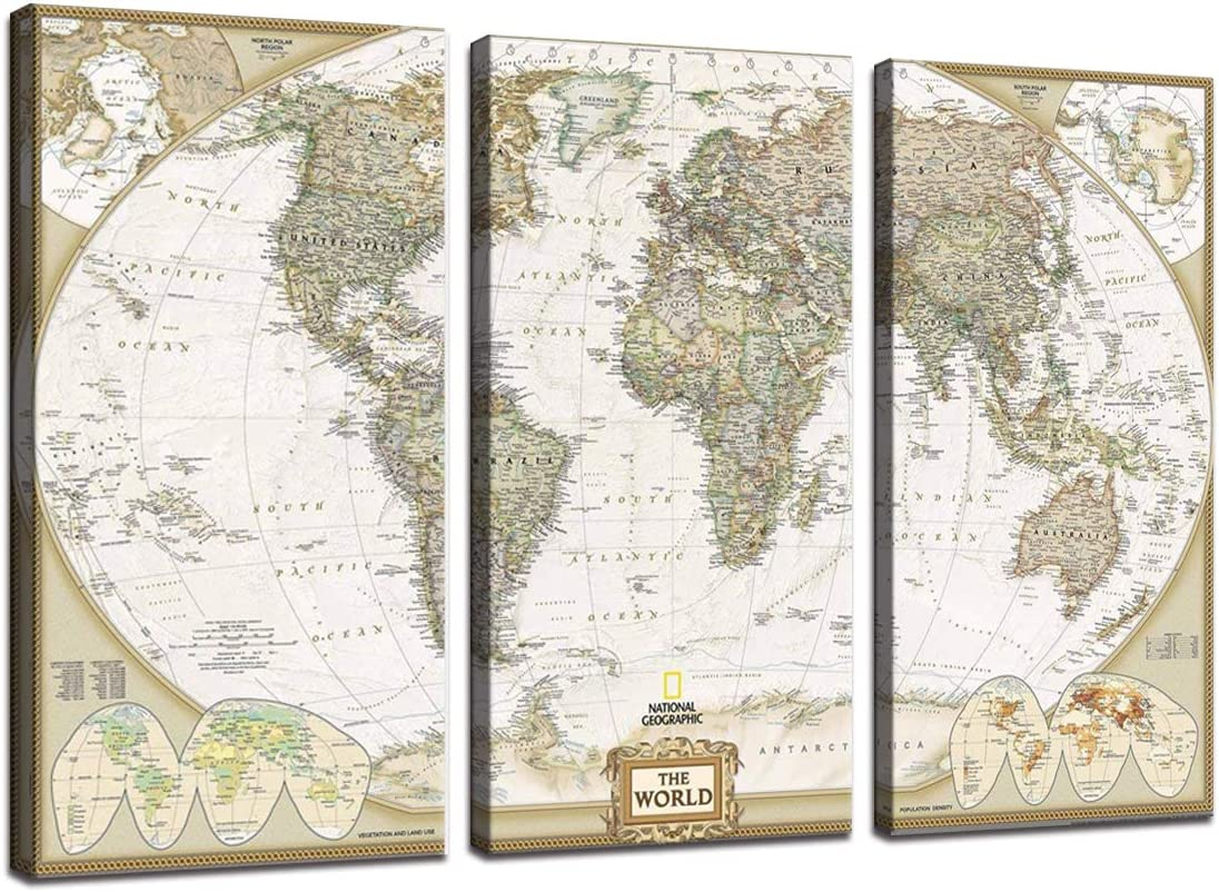 3 Panel Wall Art Vintage Globe Continents World Map Canvas Painting Wall Decor Picture for Officce Living Room Earth Geography Artwork Home Interior Decorations Modern Framed(24''H x 36''W)