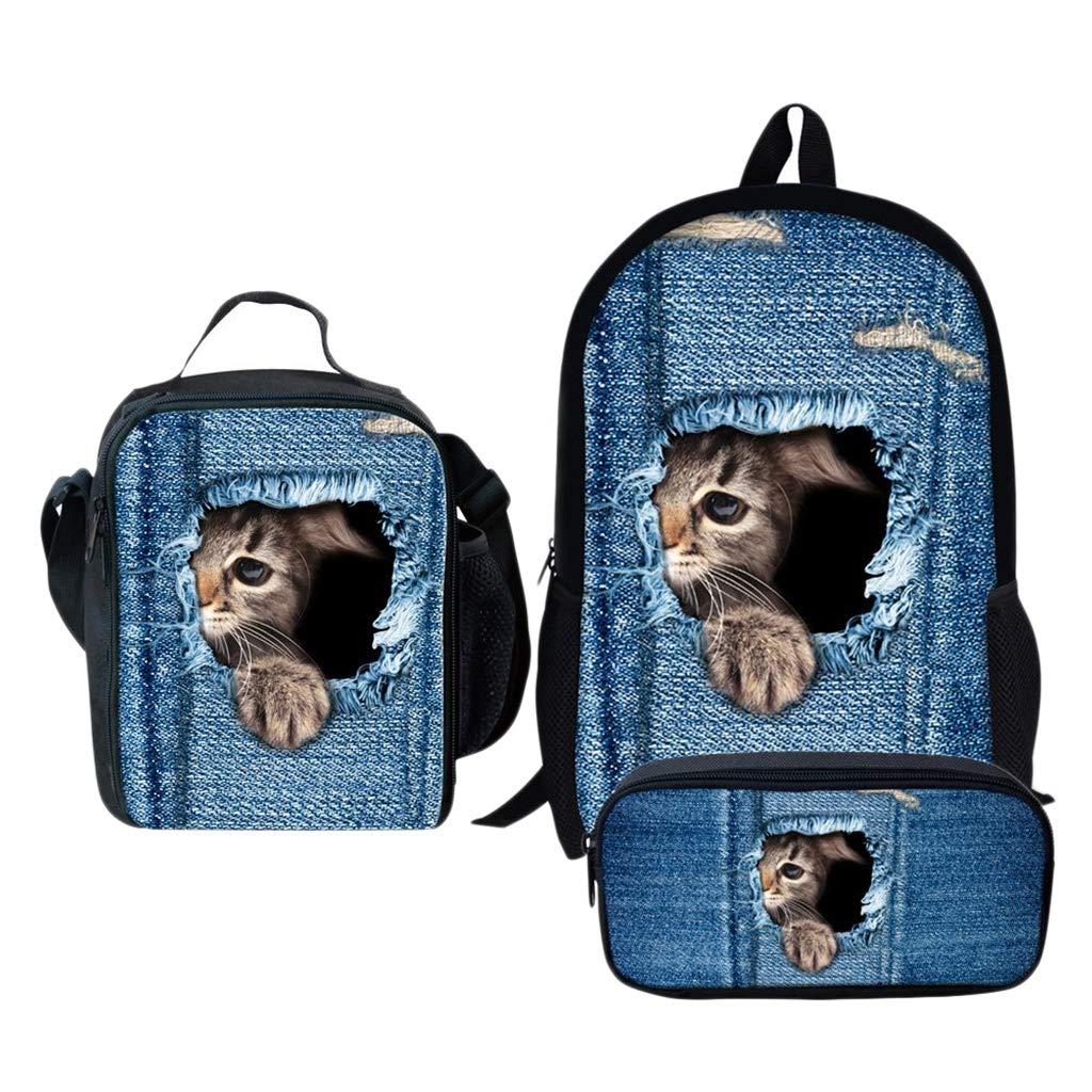 Custodia Per Penna LOVIVER Sets Zaino Scuola Per Ragazze Kitten/_1 Borsa Per Il Pranzo