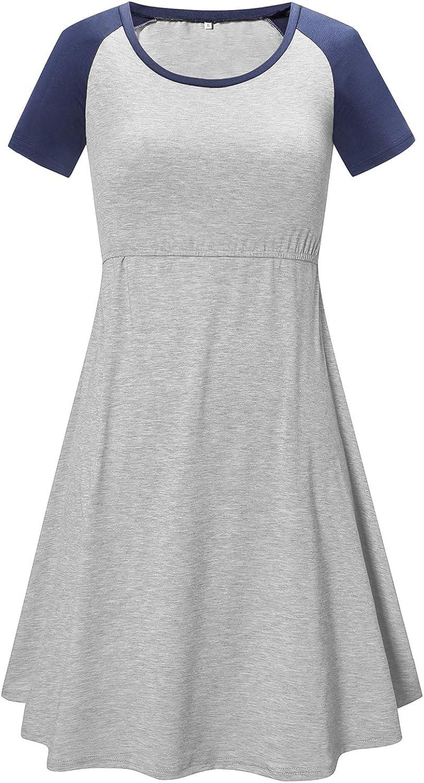 BBHoping Womens Nursing Dress Breastfeeding Tops Maternity Short /& Long Sleeve Casual Nightshirt