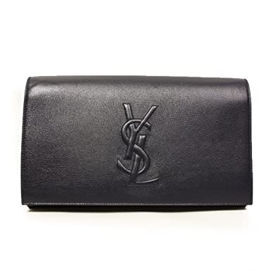 428d3e1204 Image Unavailable. Image not available for. Color  Yves Saint Laurent Ysl  Belle De Jour Navy Leather Large Clutch Bag