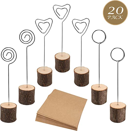 30 Pcs Rustic Wood Place Card Holders with Swirl Wire Wooden Bark Memo Holder Stand Card Photo Picture Note Clip Holders 5.8 and Kraft Place Cards Bulk for Wedding Party Table Number Name Sign