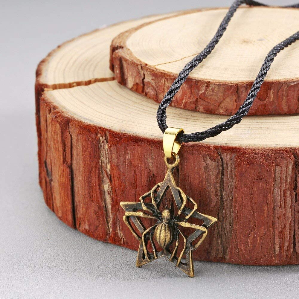 Antique Big Spider Pendants Black Rope Choker Necklaces for Women Men Punk Charm Star Animal Necklace Fashion Jewelry