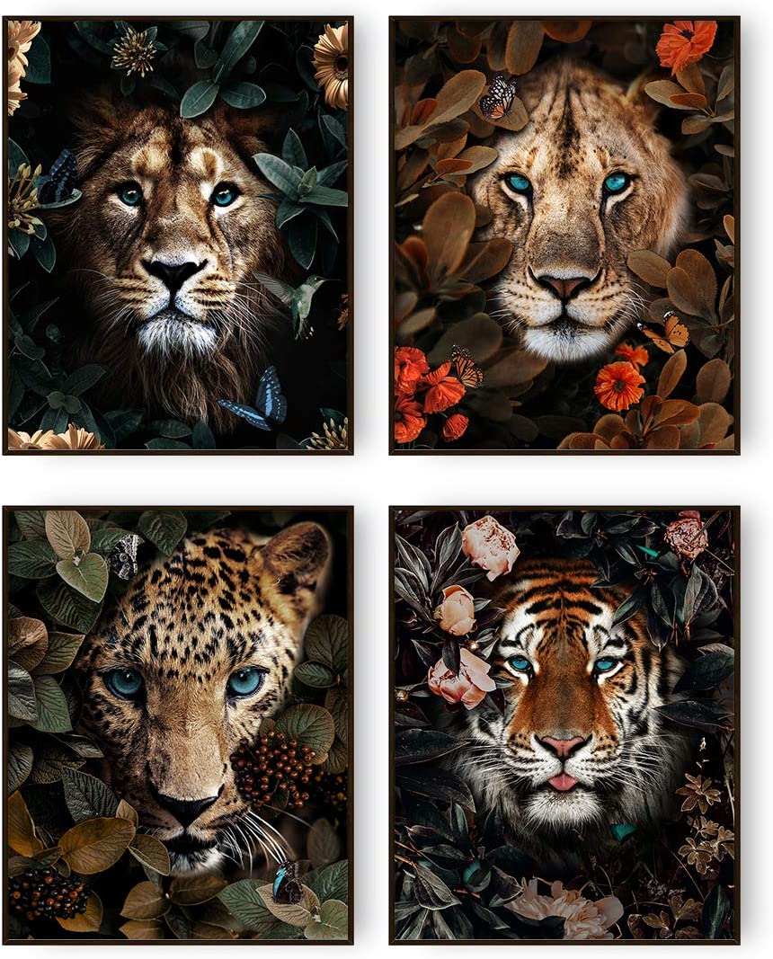 Jungle Safari Animal Wall Art Prints Poster Lion Tiger Leopard Canvas Wall Decor Set of 4 Animal Wall Pictures for Living Room Home Decor (8