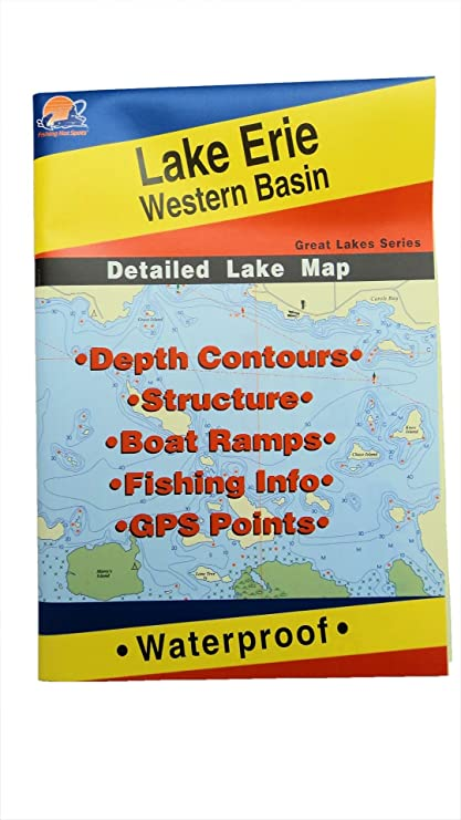 Amazoncom Lake Erie Western Basin Map GPS Points Waterproof - Lake erie depth map free