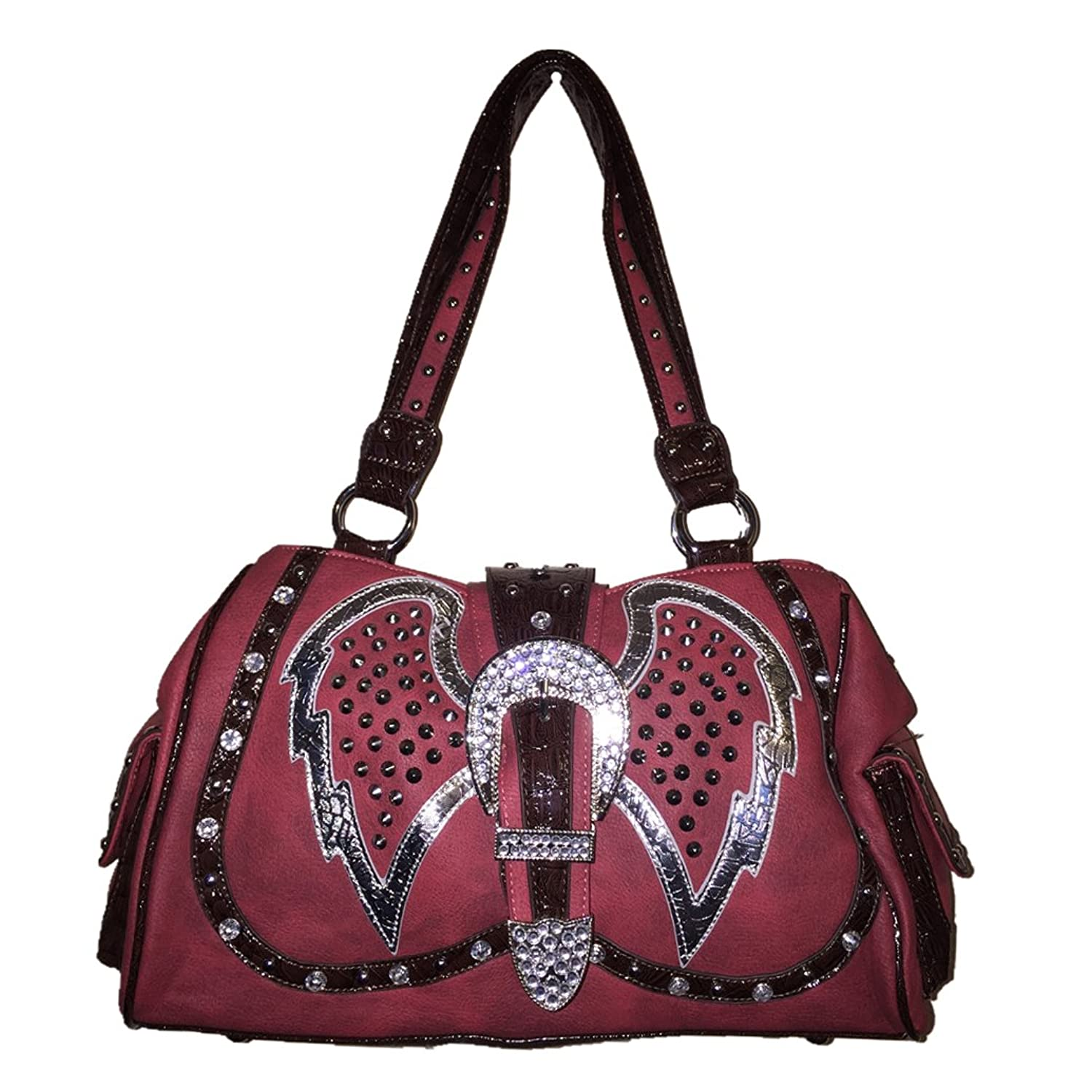 Red Rhinestone Angel Wings Buckle Shoulder Handbag Purse 0830 Red