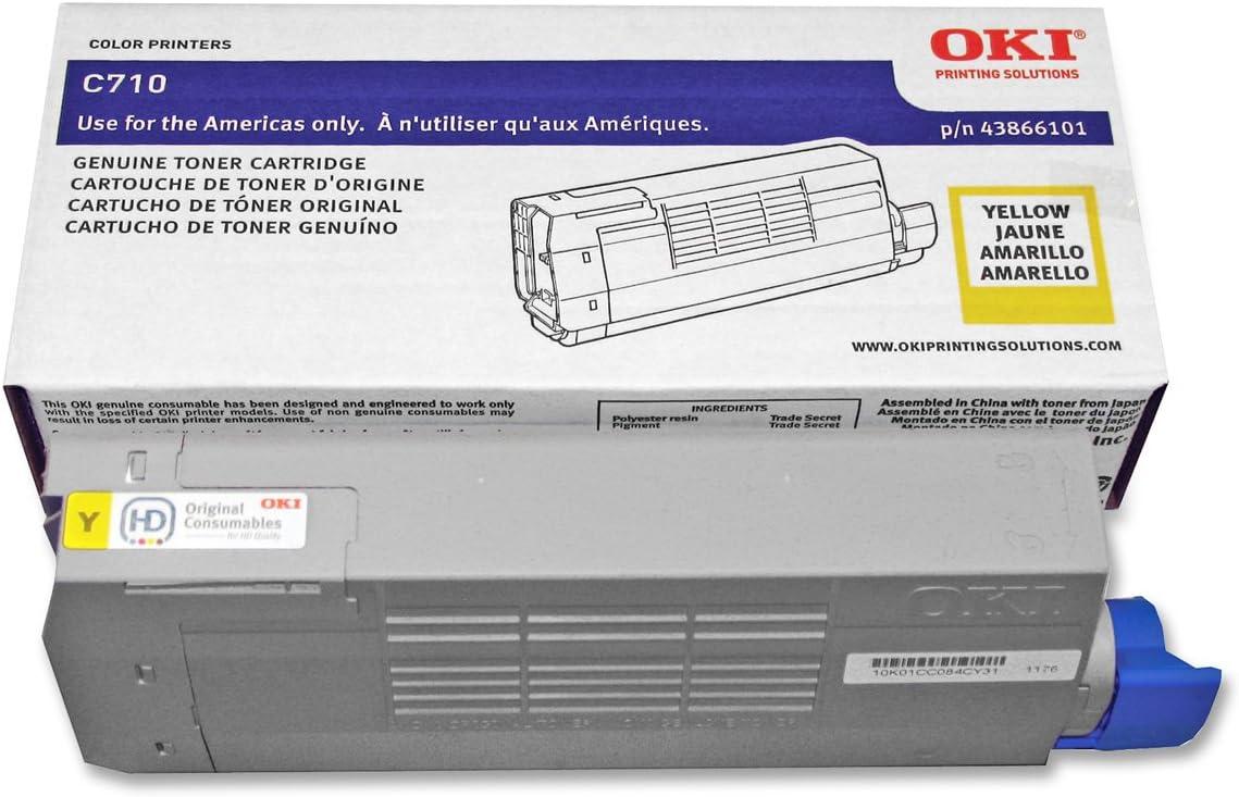 Okidata 43866101 C710 Toner Cartridge in Retail Packaging Yellow