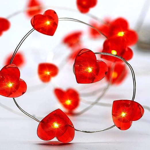 LED bunte Lichterkette Perlen Herzen Deko Lichter Dekokette Batteriebetrieben