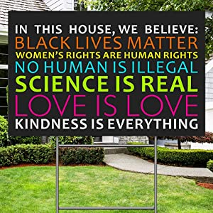 "BITEXPRESS We Believe Lawn Sign for Outdoor Patio Garden, 18""x12"" Black Lives Matter Human Rights Science Love Kindness Anti-Racism BLM Yard Sign, 2-Sided Print Corrugated Plastic Sign w/Metal Stake"
