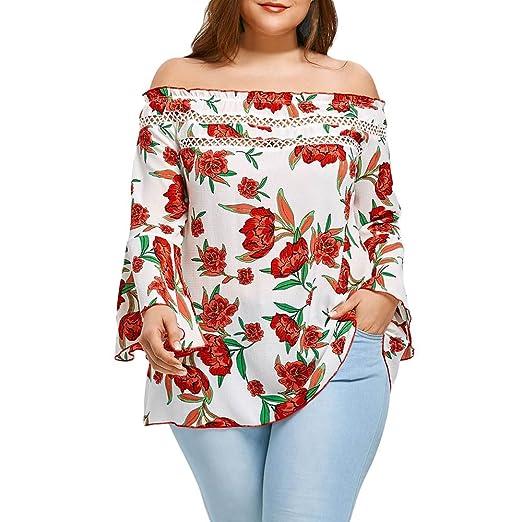 f61c7ea6866 HGWXX7 Women Plus Size Off Shoulder Floral Print Long Sleeve Chiffon Tops  Blouse (XL