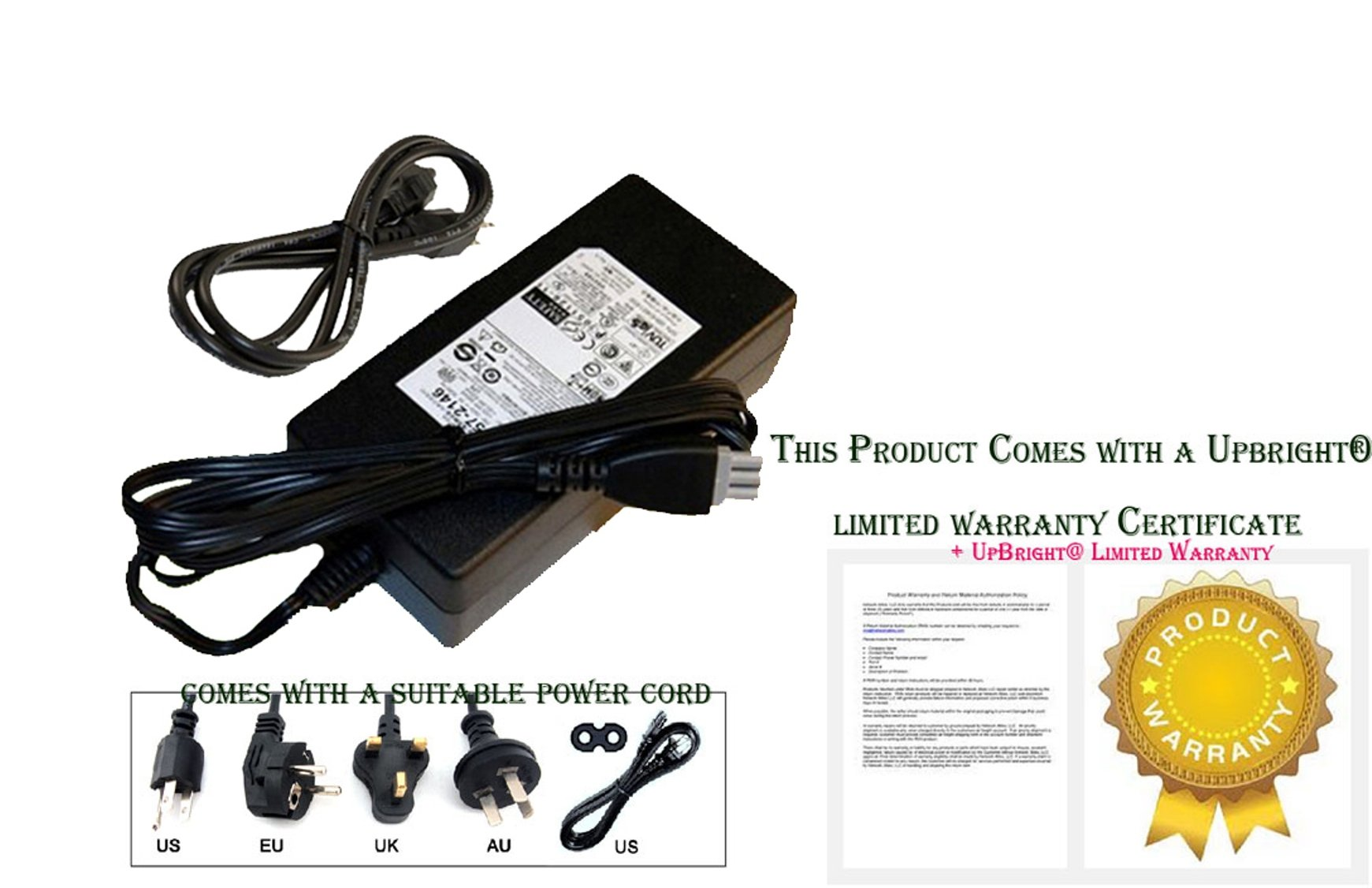 UpBright NEW Global AC / DC Adapter For HP Photosmart C5200 Photo smart C 5200 All-in-One Series Color AIO Printer 32V 16V Power Supply Cord Cable PS Charger Mains PSU