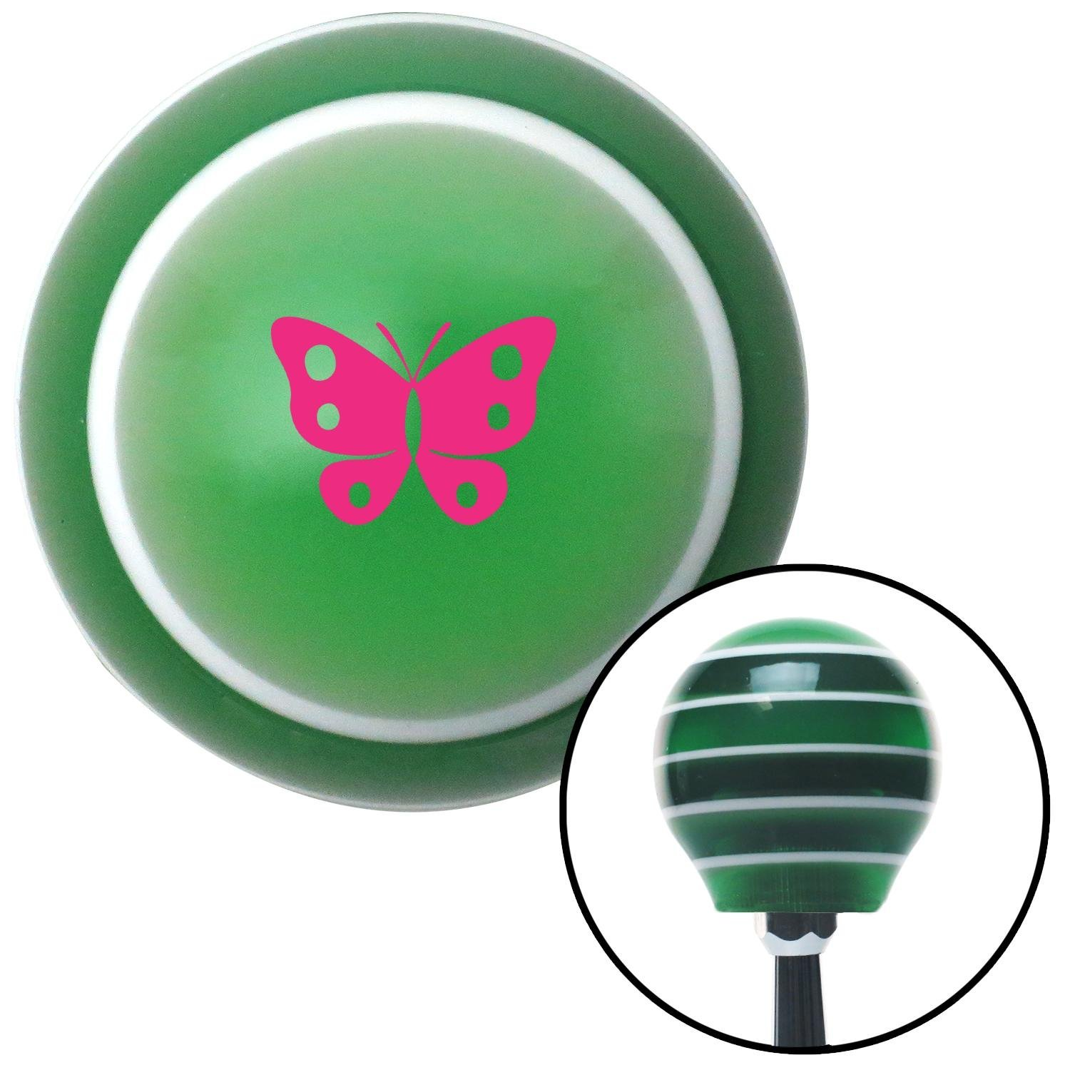 Pink Classic Butterfly Green Stripe with M16 x 1.5 Insert American Shifter 274721 Shift Knob
