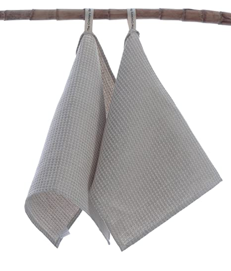 2 Linen Cotton Guest Hand Towels With Hanging Loop 50x30cm