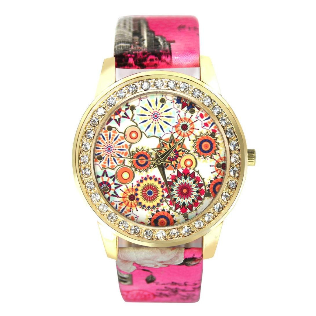 START Women Bling Diamond Crystal Oil Painting Pattern Wrist Watch-Pink