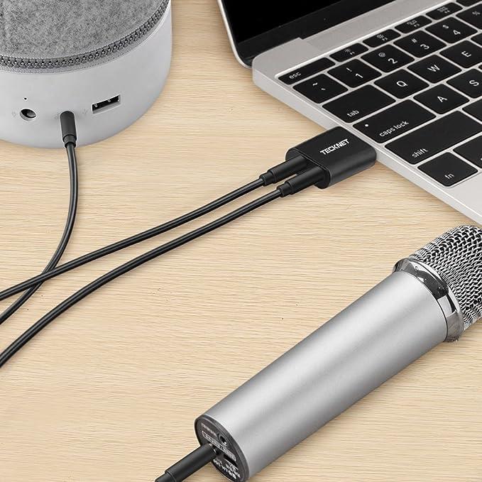 TECKNET Tarjeta de Sonido USB, Tarjeta de Sonido Externa Audio y Microfono 3.5mm para su Ordenador o Laptop Conecta Altavoces estéreo, Auriculares y ...