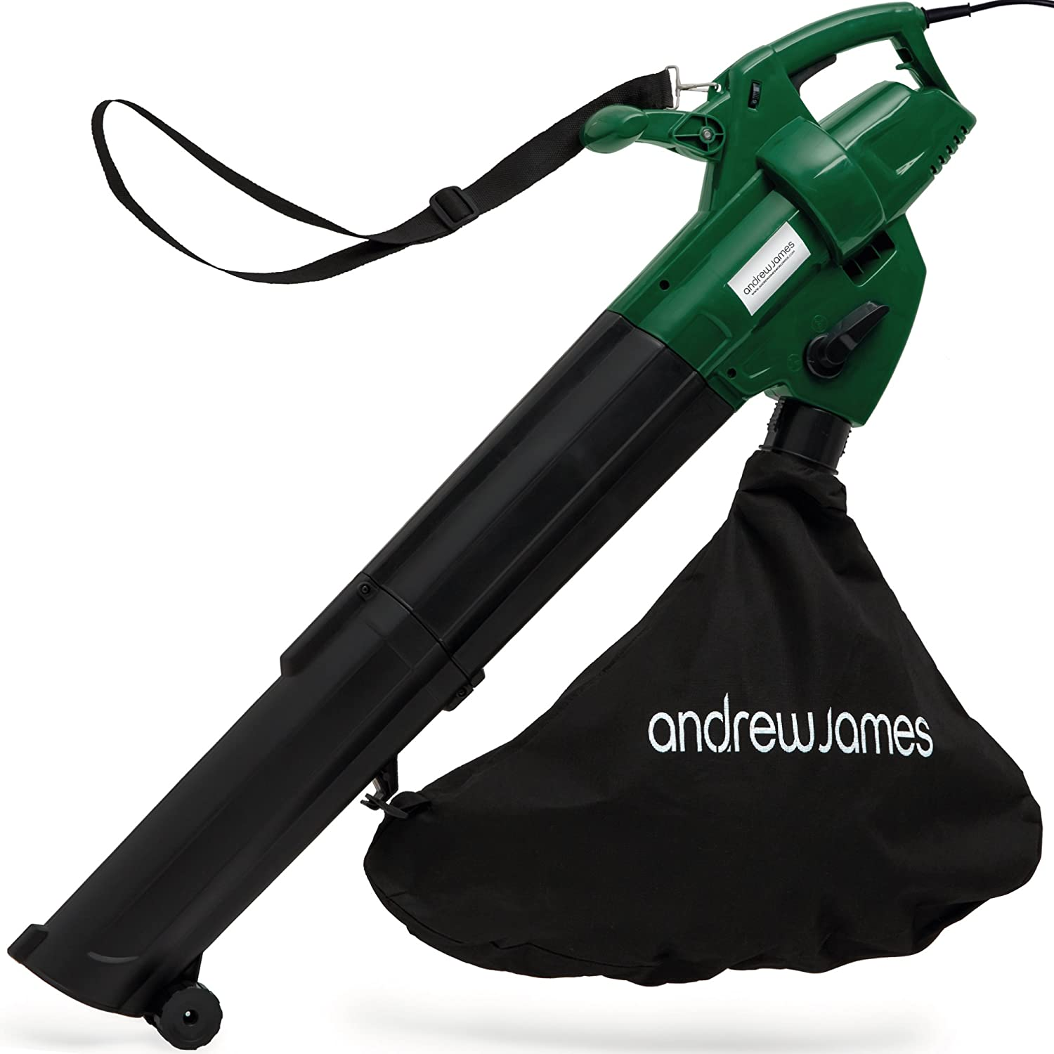 Andrew James Leaf Blower and Vacuum Mulcher | Electric 4KG Lightweight Garden Tool with 45L Shredder Bag & 10m Power Cable | Easy Function Change with Adjustable Power & Shoulder Strap | 2800W | Green & Black