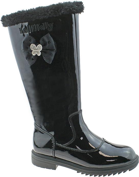 Lelli Kelly Frances LK7658 Girls Black Patent Winter Boots Zip Up Size 26-35