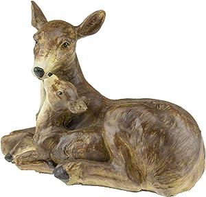 CLEVER GARDEN Cute Resin Garden Statue Decoration, Outdoor Lawn Yard Polyresin Animal Figurine Sculpture Ornament Décor, Deer Family