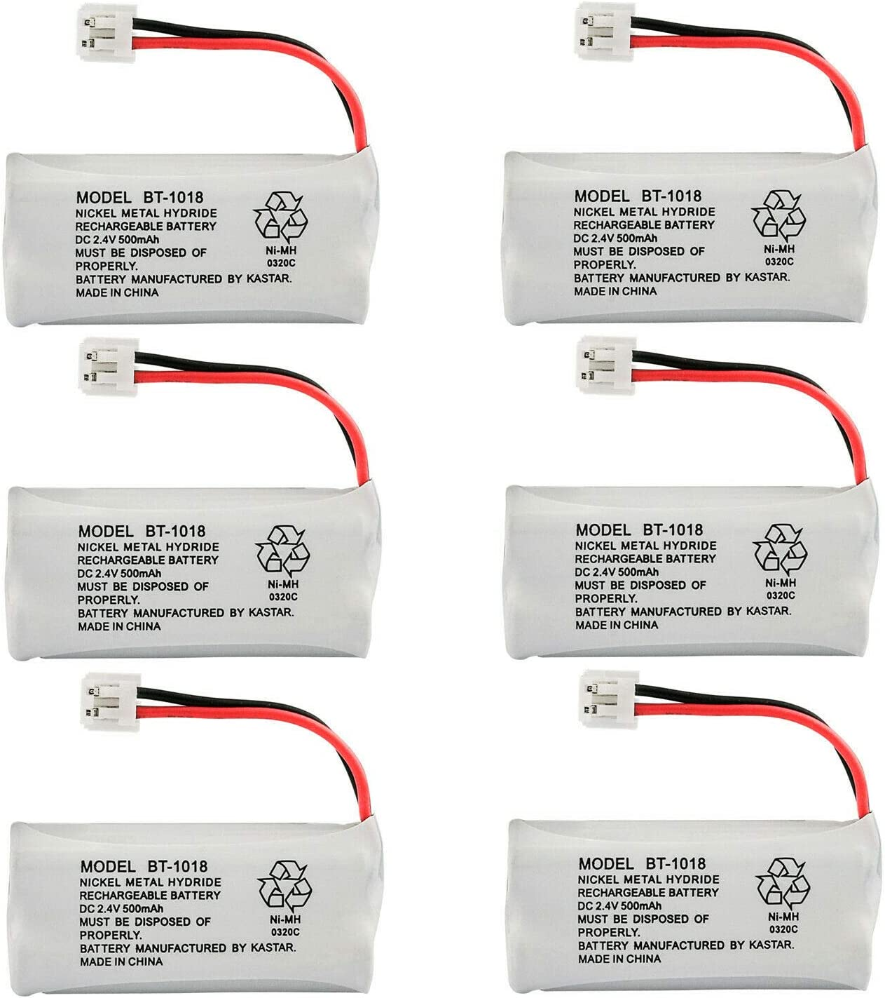 Kastar 6-Pack Battery Replacement for GE 28127FE2 28203 2-8203 28213 2-8213 28213EE1 28213EE2 28223 2-8223 28223EE2 28801 2-8801 28802 2-8802 28802FE1 28811 2-8811 28811FE2 28821 2-8821 28821FE2