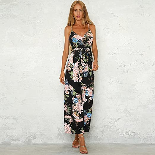 10b5a0ebcdf Maheegu Womens Holiday Casual Strappy Floral Slit Bow Front Long Trouser  Playsuits Jumpsuit Rompers  Amazon.co.uk  Clothing