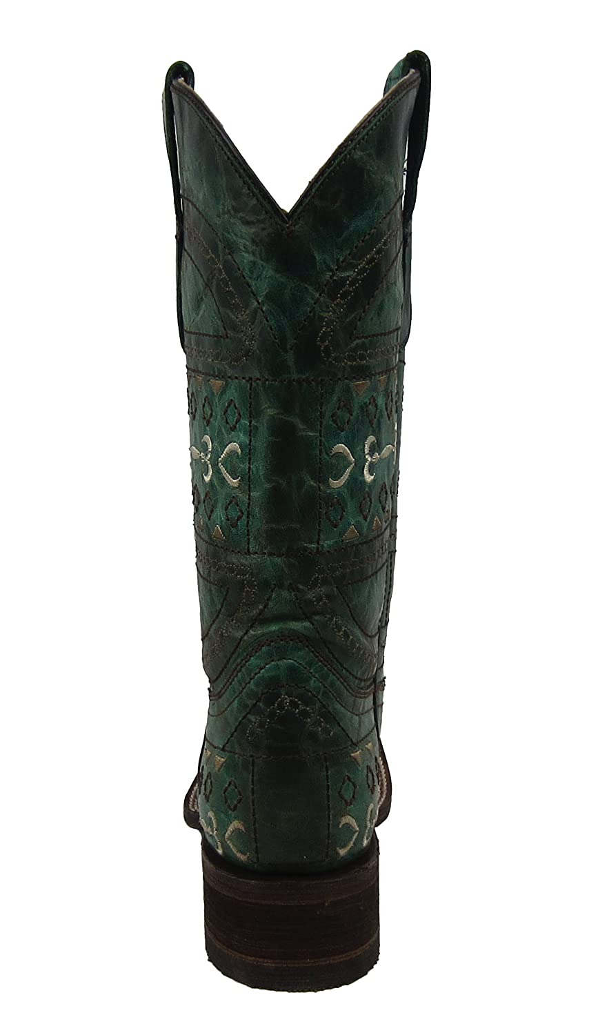 CORRAL Youth Green Embroidery Square Toe Cowboy Boots E1151