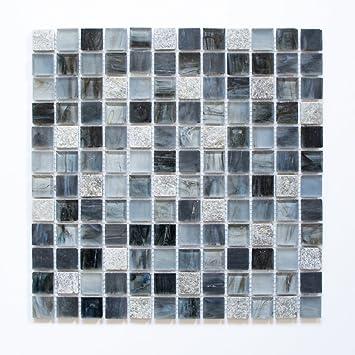 Fliesen Mosaik Mosaikfliese Glas Glänzend Cream Grau Küche Bad WC - Mosaik fliesen grau glänzend
