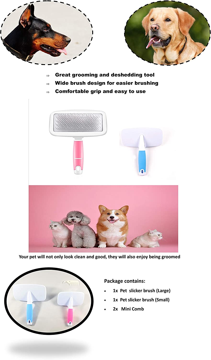 Knots A pair of Dog /& Cat Grooming brush//comb and Loose Hair from Pets for Dog Gently Remove Mats Cats and Pets Great Deshedding Tool and Easy to Use Vines Classic Slicker brush Tangles