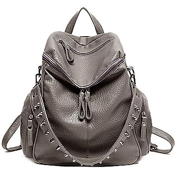 c851b42cf77f UTO Women Backpack Purse 3 ways PU Washed Leather Rivet Studded Ladies  Rucksack Shoulder Bag Khaki  Amazon.in  Bags
