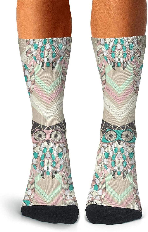 Adult Cute Owls Leaves Socks Warm Crew Knee High Socks