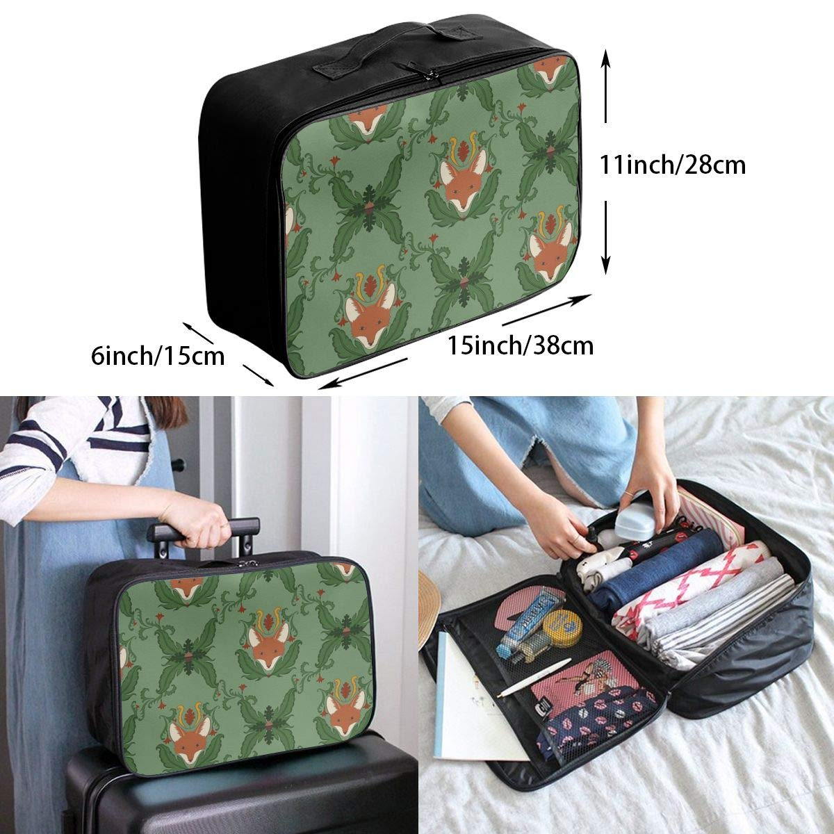 Travel Luggage Duffle Bag Lightweight Portable Handbag Tree Fox Print Large Capacity Waterproof Foldable Storage Tote