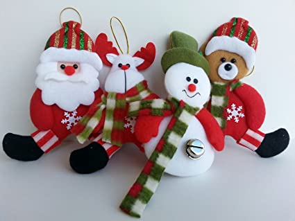 Immagini Di Natale Pupazzi Di Neve.Set Di 4 Addobbi Natalizi Babbo Natale Pupazzo Di Neve Renna Orso Per Albero Di Natale