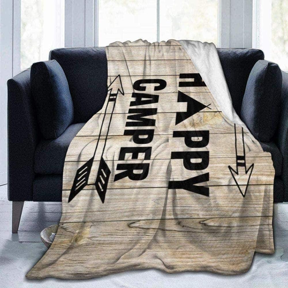 Manta De Franela Para Sofa,Manta De Felpa Happy Camper,Manta Ligera Súper Suave Y Acogedora Para Sofá Cama,Sofá,Silla Mantas De Cama De Tiro De 80