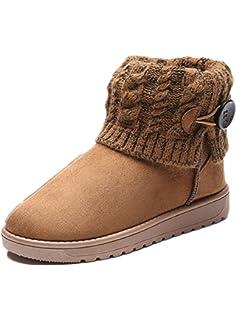 Lalang Femme Bottes de Neige Hiver Chaudes Bottes Boots Fourrées Cheville  Chaussures 044a3b47388b