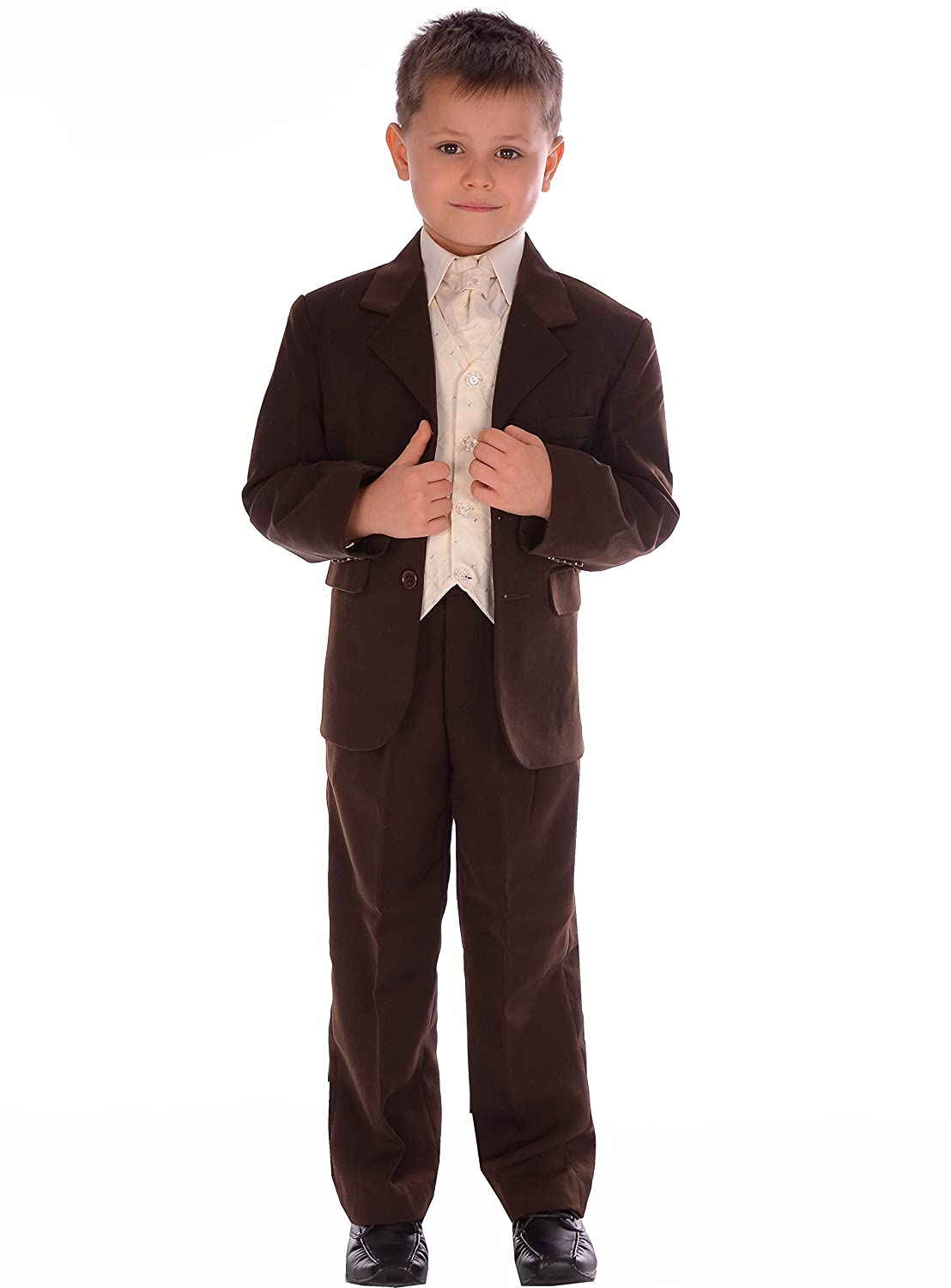 Boys Suit Brown Formal Wedding Pageboy 5 Piece Suit 0-3 months to 14-15 years
