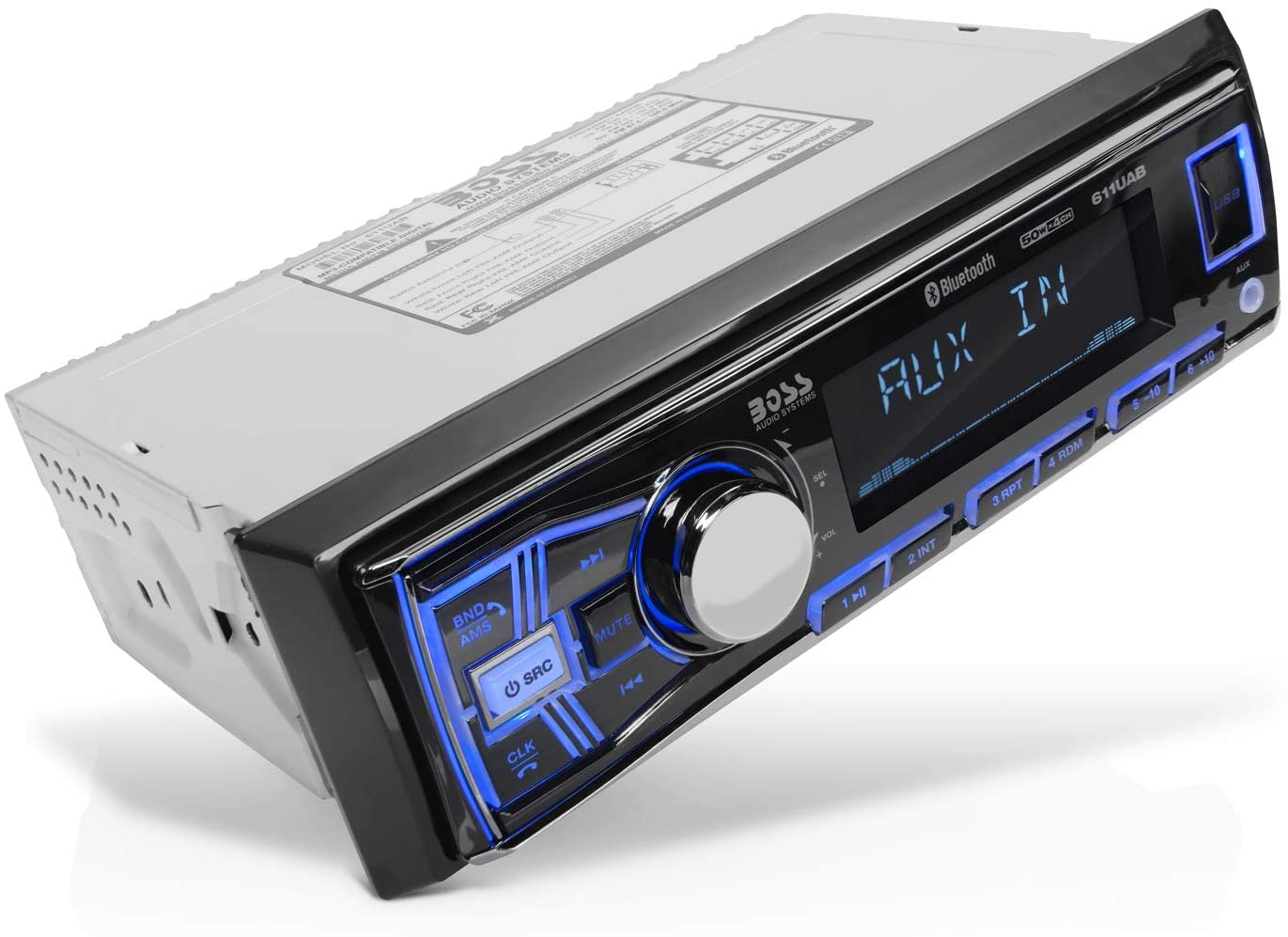 Amazon.com: BOSS Audio Systems 611UAB Multimedia Car Stereo - Single Din,  Bluetooth Audio and Hands-Free Calling, Built-in Microphone, MP3 Player, No  CD/DVD Player, USB Port, AUX Input, AM/FM Radio Receiver: Car ElectronicsAmazon.com