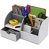 BTSKY Organiseur de bureau / boîte de rangement multifonction en cuir synthétique pour cartes, stylos, téléphone portables, télécommande blanc