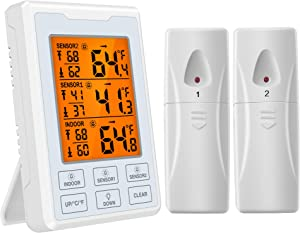 Brifit Refrigerator Thermometer, Wireless Digital Freezer Thermometer with 2 Sensors, Audible Alarm, Min and Max Record, Large LCD Display for Home, Restaurants, Bars (Battery not Included)