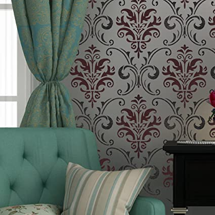 J BOUTIQUE plantillas de pared plantilla para Damask hilos ...