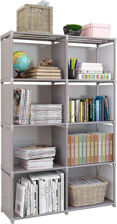 Rerii Bedroom Storage, 4 Tier 8 Cube Organizer Shelf, Kids Bookcase Bookshelf, Free Standing Closet Storage Shelves for Bedroom, Living Room, Office