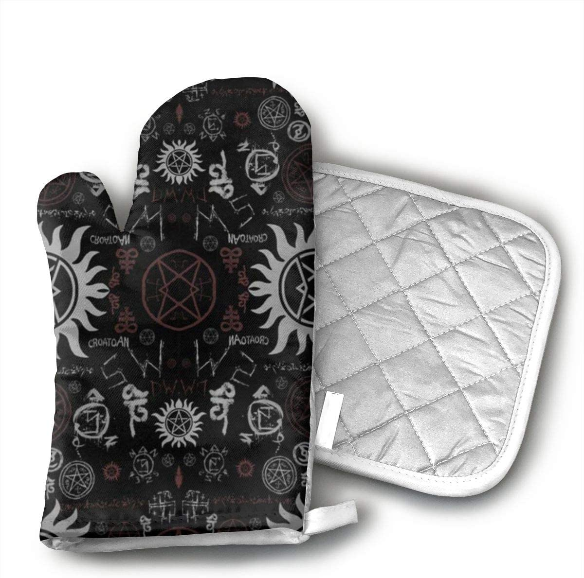 LZMBH Supernatural Symbols Black Heat Resistant Oven Mitts - Non-Slip Grip Pot Holders for Kitchen Cooking Baking, up to 450 F Degrees Heat Resistant