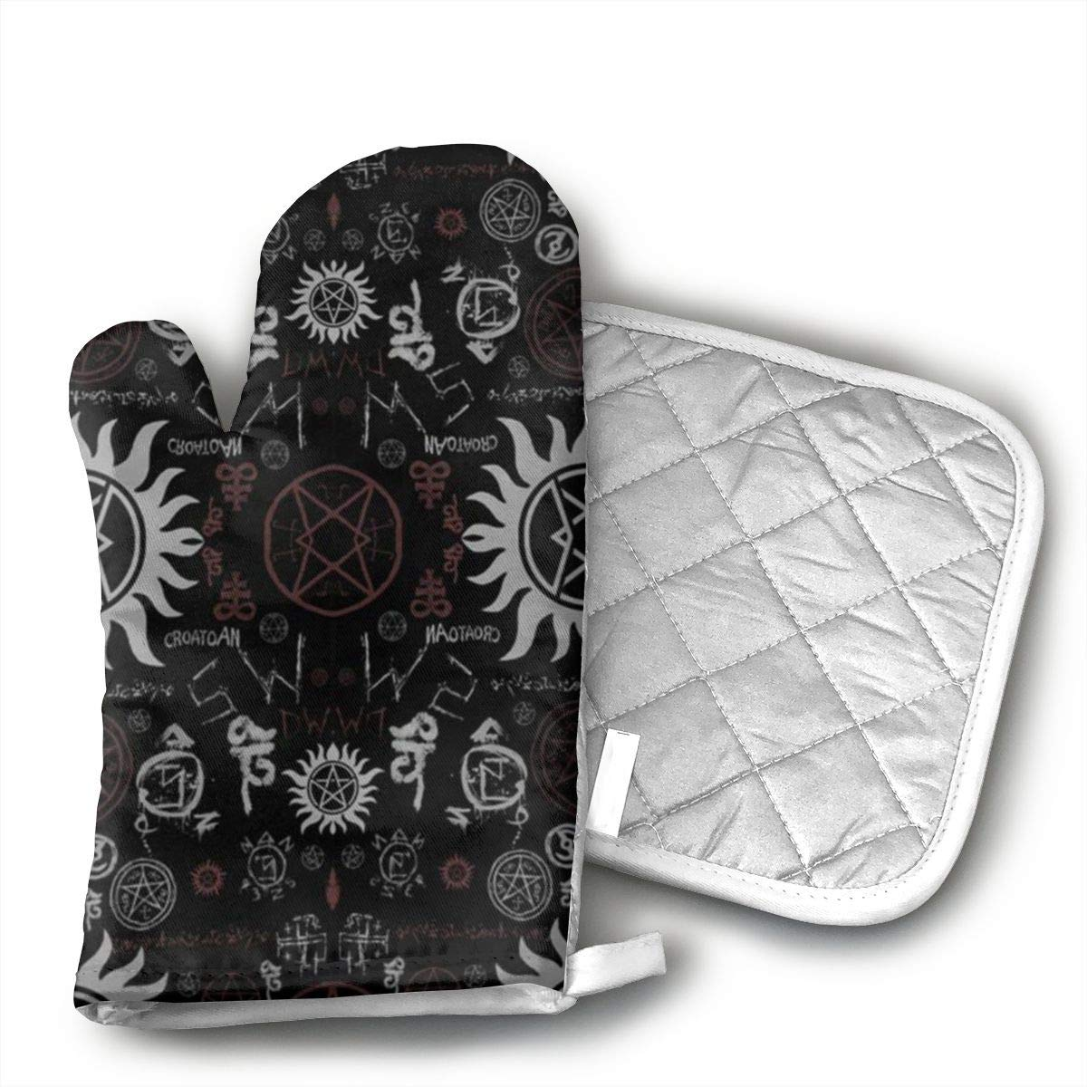 Supernatural Symbols Black Oven Mitts, Heat Resistant Cooking Glove Quilted Cotton Lining- Heat Resistant Pot Holder Gloves for Grilling & Baking Gloves BBQ Oven Gloves Kitchen Tools Gift