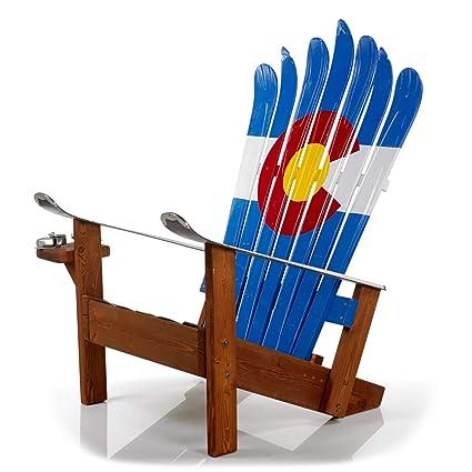 Amazoncom Colorado Flag Hand Painted Adirondack Ski Chair