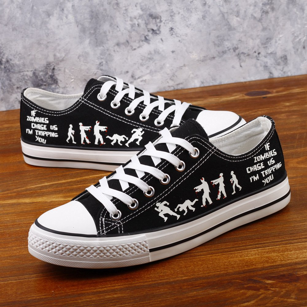 E-LOV Black Luminous Zombies Printing Canvas Shoes Low Cut Sneakers Lace up Funny Casual Shoes Glow in Dark for Men Gift Idea by E-LOV (Image #5)