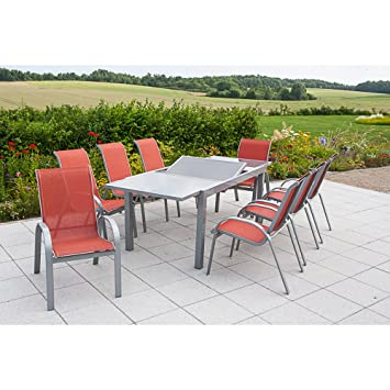 Merxx Gartenmobel Set Amalfi Silber Terracotta 9 Tlg Amazon De