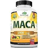 Organic Maca Root Black, Red, Yellow 1900 MG per Serving - 150 Vegan Capsules Peruvian Maca Root Gelatinized 100% Pure Non-GM