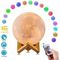 Moon Lamp Moon Light Kids Night Light Galaxy Lamp 16 Colors LED 5.9 Inch 3D Star Lamp with Wood Stand, Touch & Remote Control & USB Rechargeable Baby Light Girls Lover Birthday (Moon Lamp)